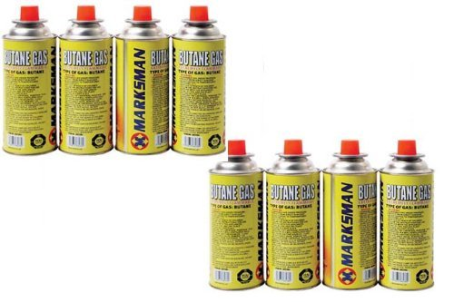 8 Butane Gas Canisters for Camping, Heaters, Barbecues