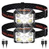 MOSUNECE LED Headlamp 2Pack, 1100 Lumens USB Rechargeable Headlamp Flashlight with 8 Modes Waterproof Motion Sensor Headlight,Outdoor Headlamps for Camping Running Fishing Hunting