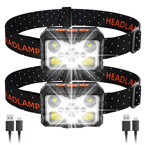 MOSUNECE LED-Stirnlampe, 2 Stück, 1100 Lumen, wiederaufladbar, per USB aufladbar, 6 Modi, Ein-Klick an/aus, Bewegungsmelder, Außenleuchte für Camping, Laufen, Angeln, Jagd etc., IPX5 wasserdicht