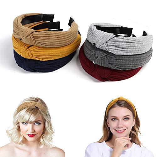 URAQT Headbands for Women, 6 Packs Fabric Hair Band for Girls, Elastic Head Wrap Cute Knot Hair Accessories