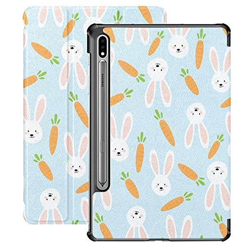 Custodia per Galaxy Tab S7 Custodia Sottile e leggera Custodia Cover per Samsung Galaxy Tab S7 Tablet 11 pollici Sm-t870 Sm-t875 Sm-t878 2020 Release, Carote Conigli su pastello