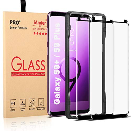 [2-Pack] Galaxy S9 Plus Screen Protector Glass [Easy Installation Tray], iAnder 3D Curved [Tempered Glass] Screen Protector for Galaxy S9 Plus S9+ [Case Friendly]