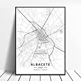 linbindeshoop Elche Pamplona Vitoria-Gasteiz Madrid Albacete Santander Oviedo España Lienzo Arte Mapa Póster (LQ-424) 40x60cm Sin Marco