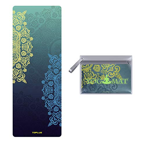 Toplus Travel Yoga Mat - Foldable 1/16 Inch Thin Hot Yoga Mat, Sweat Absorbent Anti Slip, High-Grade Natural Suede for Travel, Yoga and Pilates, Coming with Carrying Bag (Green)