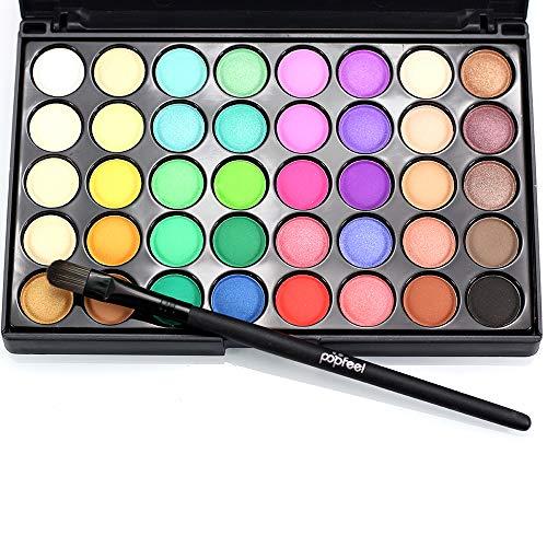 40 Colores Sombra de ojos Disco en polvo Natural Fácil de usar Pearlescente y Mate Paleta de sombra de ojos a prueba de agua Accesorios de maquillaje de ojos Cosmética colorida y encantadora con un