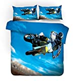 Sticker Superb Funda nórdica 3D Motocicleta Motocross Bicicleta Todoterreno Piloto de Carreras Juego de Cama,2/3 Piezas Microfibra Hombres Adolescentes Niños Edredón Ropa de Cama (Azul, 180_x_210_cm)
