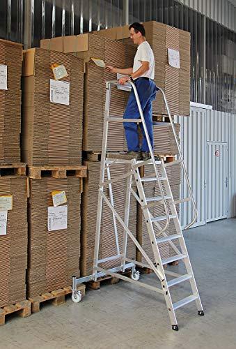 Aluminium platform ladder verrijdbaar, 11 treden - 52511