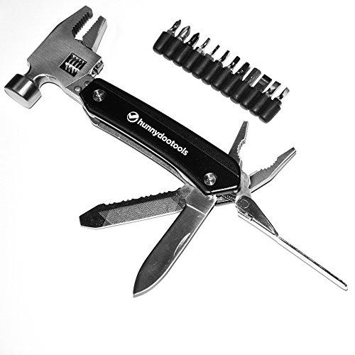 HunnyDooTools Adjustable Multitool Hammer with 12 Screw Driver Bits and Sheath Crkt Guppie Multi Tool
