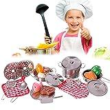 fantastiko toys set utensili da cucina giocattolo per bambini in metallo 23 pz con pentole mestoli stoviglie alimenti e accessori in tessuto