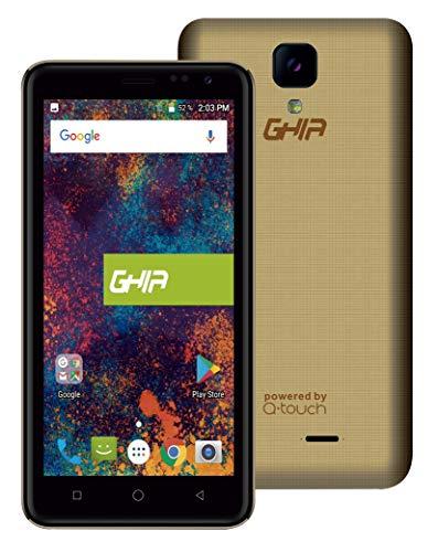 GHIA Smartphone Q01A - Pantalla de 5.0' - Quad Core - 1GB de RAM - 8GB de Memoria - Sim Dual - Doble Cámara de 2 y 5MP - Wi-Fi - Bluetooth - Android 7.0 - Dorado