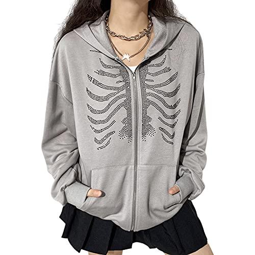 Mujeres Zip Up Sudaderas con capucha Y2k Estética Rhinestone Esqueleto con Capucha Jersey Manga Larga Sudaderas Vintage Chaqueta Streetwear, gris, S