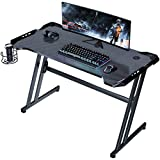 ZeeDix Gaming Desk 47' ZZ Shape PC Home Office Gaming Table, Professional Gamer Workstation with Cup Holder for Holiday Birthday Men Boyfriend Female Son Daughter Gift (Black)