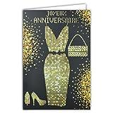 Tarjeta feliz cumpleaños para mujer, niña, madre, negro y oro con brillantes brillantes, chic, dorado, vestido, bolso de mano, zapatos de tacón alto, fiesta de deseo, moda de los años 70