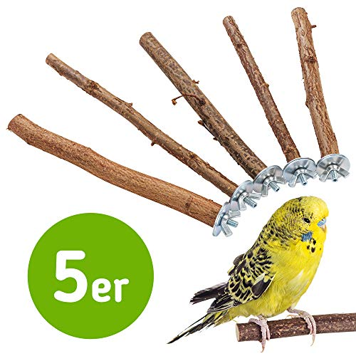5 herrliche Natur Sitzstangen für Vögel wie Wellensittich, Nymphensittich, Kanarienvogel,...