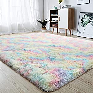 junovo Soft Rainbow Area Rugs for Girls Room, Fluffy Colorful Rugs Cute Floor Carpets Shaggy Playing Mat for Kids Baby Girls Bedroom Nursery Home Decor, 5ft x 8ft