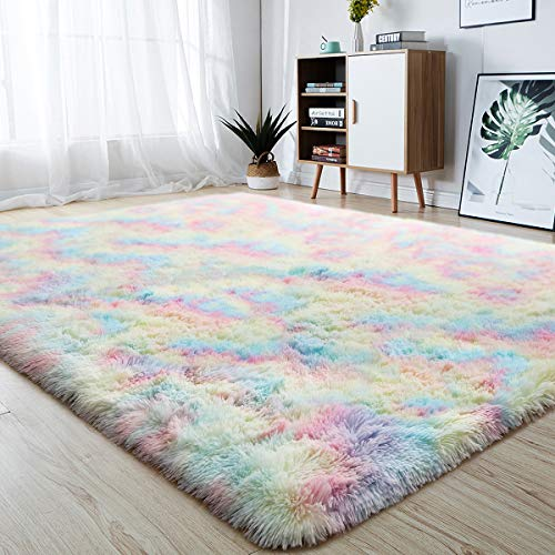 junovo Soft Rainbow Area Rugs for Girls Room, Fluffy Colorful Rugs Cute Floor Carpets Shaggy Playing Mat for Kids Baby Girls Bedroom Nursery Home Decor, 4ft x 5.9ft