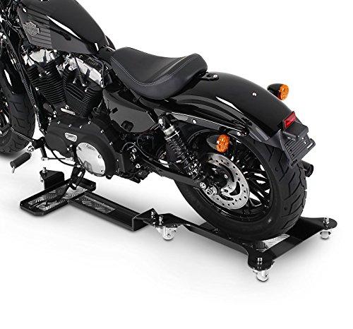 ConStands Motomover II - Motorrad Rangierschiene für Harley Davidson Sportster 883 Iron (XL 883 N) Schwarz Rangierwagen Rangierhilfe Seitenständer Hinterrad