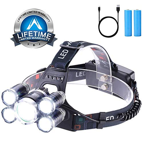 Headlamp 12000 Lumen Ultra Bright CREE LED Work Headlight micro-USB Rechargeable, 4 Modes Waterproof Head Lamp Best Headlamps for Camping Hiking Hunting Hard Hat Workers