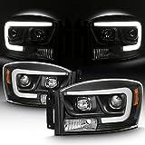 For 2006-2008 Dodge RAM 1500 & 06-09 Dodge RAM 2500/3500 LED Daytime Running Lamp Bar Projector Headlights Black Combo