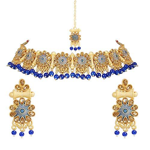 I Jewels M4120BL, juego de collar tradicional de perlas de kunzita bañado en oro con pendientes y Maang Tikka para mujer