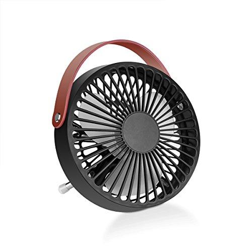 Ventilatore da Tavolo Mini USB, Konesky Ventola di Raffreddamento Portatile con Manico in Pelle PU - Nero