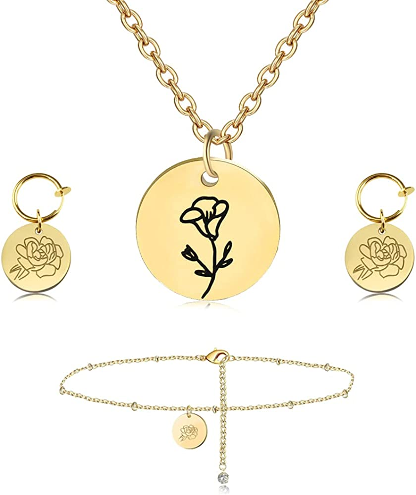 VALIJINA Birth Month Flower Jewelry Dainty Birth Flower Pendant Necklace Earrings Bracelet Set Women's Birthday Jewelry Engrave Coin Necklace Personalized Jewelry Birthday Gift for Her