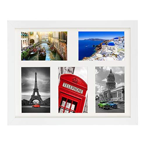 28 x 35 cm Marcos de la Foto Multiple con paspartu para 5 Fotos 10 x 15 cm, Blanco