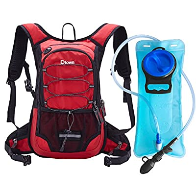 Dtown Hydration Backpack with 2L BPA Free Water Bladder, Water Backpack for Hiking, Cycling, Camping, Biking or Running - Keep Liquid Cool up to 4 Hours(Red)