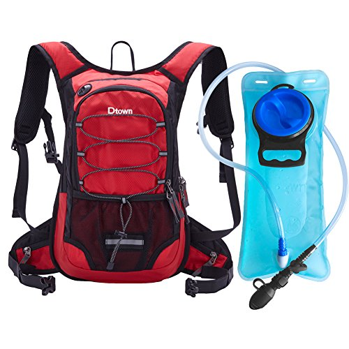 Dtown Camel Back Hydration Backpack for Hiking Biking or Running with 2L Water Bladder