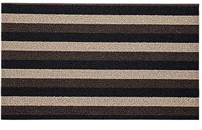 Gorilla Grip Premium Loop Doormat, 24x16, Soft Decorative Striped Scraper Door Mats, Durable Backing, Heavy Duty Tufted Bristles Mat for Indoor and Outdoor Entrance, Easy Clean, Black Brown Beige