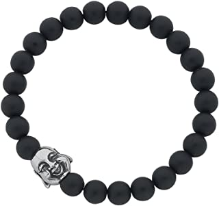 Bevilles Stainless Steel Budha Face and Matte Black Ball Mens Bracelet Beaded