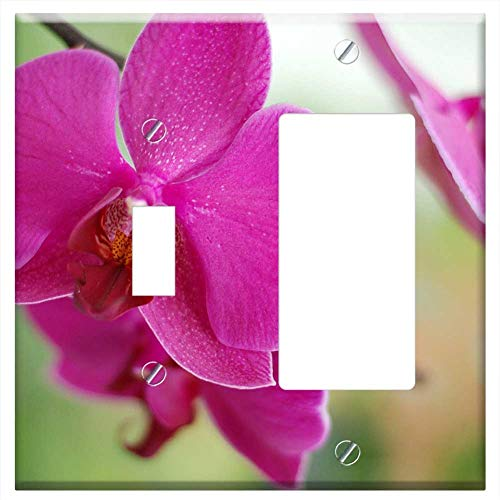 Toggle Rocker/GFCI Combination Wall Plate Cover - Flower Floral Orchid Pink Nature Spa Relaxing