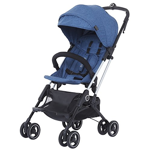 Evolur Voyager Stroller: Navy | One-Hand Easy Fold | Ultra Lightweight Compact Baby Stroller | Best Used for Airplane & Car Travel | Safe, Comfortable & Smooth Ride | Carries up to 50 Pounds |