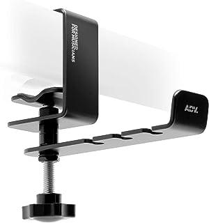Advanced Suspension Headphone Hanger Steel Headset Holder 360° Rotating Handle Under Desk, 3.5mm Jack Hook Mount, Universa...