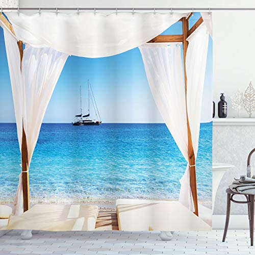 "Ambesonne Balinese Shower Curtain, Beach Through Balinese Bed Summer Sunshine Clear Sky Honeymoon Natural Spa Picture, Cloth Fabric Bathroom Decor Set with Hooks, 70"" Long, Aqua Caramel"