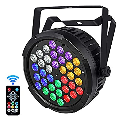 LED Stage Lights, YeeSite Updated Version 36W RGBW+Amber+UV Par Can by Remote DMX Control Uplights for Wedding Party Stage Lighting
