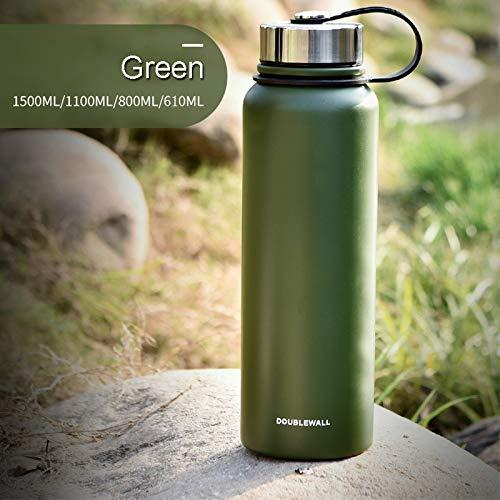MIGHTYDUTY 610/800/1100/1500ML Thermosflasche, vakuumisolierte Wasserflasche Edelstahlflasche, tragbar, 6-24 Stunden, warm und kühlend, Sport-Wasserbecher für Laufen, Yoga, Fitness (Grün 800ML)