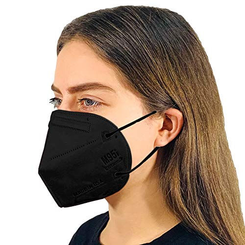 Disposable 5-Layer Efficiency Protective Adult Face Mask 5-Ply Design Made in USA (5, Obsidian Black)