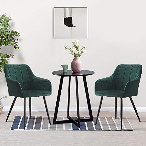 OFCASA Juego de 2 sillas de comedor de cocina tapizadas de terciopelo verde con reposabrazos y sillón para el hogar, restaurante, recepción