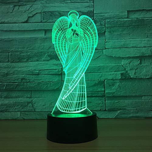 3D Lámpara de Escritorio LED 7 del color de la lámpara del dormitorio del hogar decoración de la oficina para los niños y regalo de Navidad de cumpleaños (Arcángel),Interruptor tacto