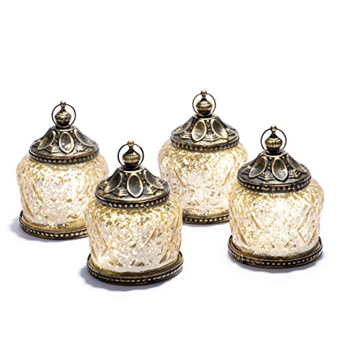 "Mini Gold Mercury Glass Lanterns - Set of 4, Warm White LED Lights, 4"" Height, Antique Bronze Accents, Battery Operated"