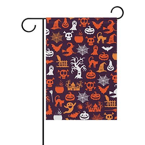 SENNSEE Halloween-Flagge, Totenkopf, Kürbis Hexe, Gartenhaus, 30,5 x 45,7 cm, doppelseitig, Polyester, Multi, 12x18(in)