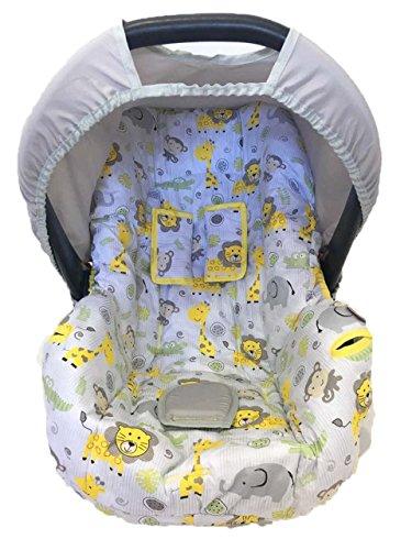 Capa para Bebe Conforto Safari, Multimarcas sem Bordado, Alan Pierre Baby, Branco e Amarelo