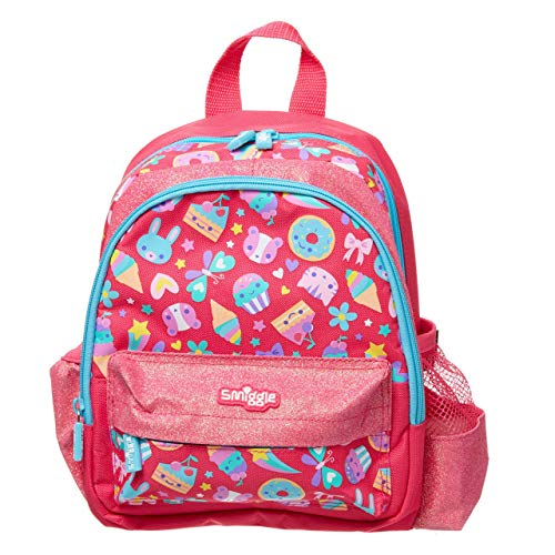 Smiggle Skip Teeny Tiny Nursery Backpack for Girls & Boys with Dual Drink Bottle Sleeves & Name Label | Ice Cream Print