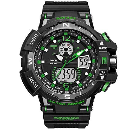SMAELBand Beiläufige Uhr Männer Wasserdicht Herren Armbanduhr LED Digitaluhr Männer Uhr Big Sportuhren Led 1376,Grün