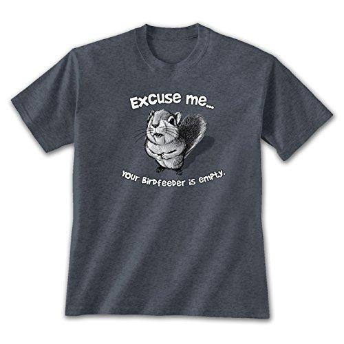 Excuse Me Squirrel T-Shirt XL, Funny Bird Feeder Shirt Cute Animal Novelty Heather Navy