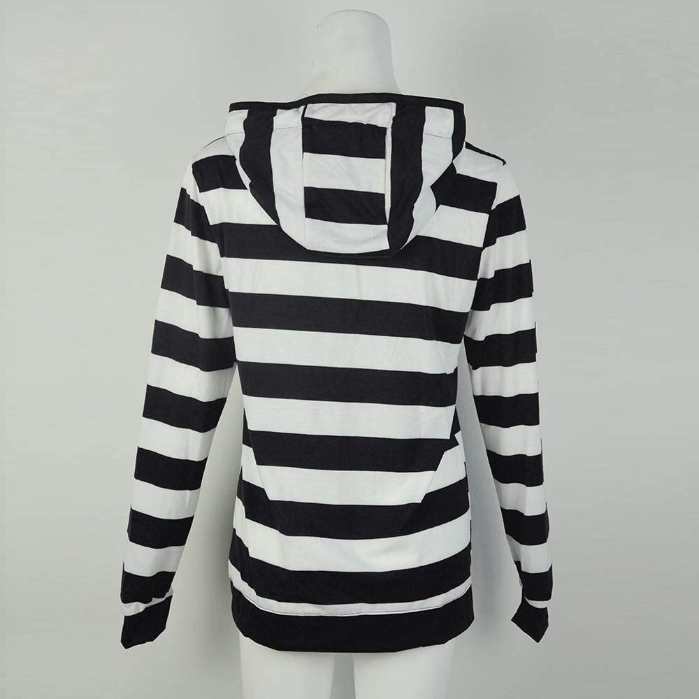 SALUCIA Damen Oversize Streifen Patchwork Sweatshirt mit Kapuze Hoodie Kapuzenshirt Langarmshirt Herbst Tops Schwarz