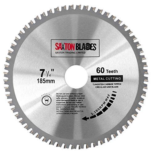 Saxton TCT18560TMB Kreissägeblatt für Bosch Makita Dewalt Evolution (Stahl, Aluminium, Kupfer, Metall), 185 mm x 60 Zähne
