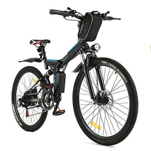 Liu Yu·casa creativa Bicicleta de montaña eléctrica de 350W para Adultos, batería extraíble de 36V /8Ah, neumático de 26 ″, Freno de Disco, Bicicleta eléctrica de 21 velocidades (Color : Negro)