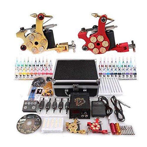 Kit completi per tatuaggi Macchinetta Tatuaggi set 2Tattoo gun + 40 Inchiostro